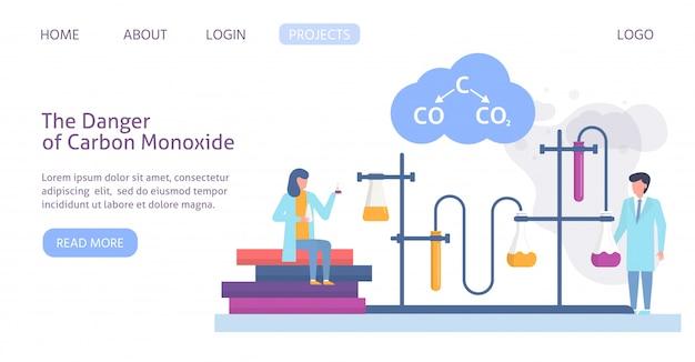 Chemical research in ecology of polluted city with scientists people and chemical formula of air polution web site template illustration. Premium Vector