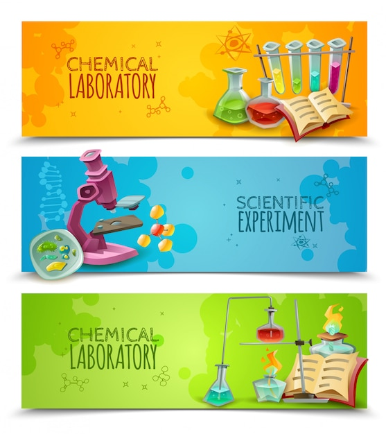 Chemical research laboratory equipment Free Vector