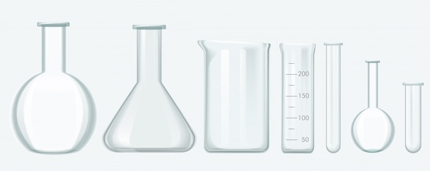 Chemical science equipment set. laboratory glass equipment vector illustration. Premium Vector