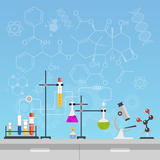 Chemical science laboratory tools Premium Vector