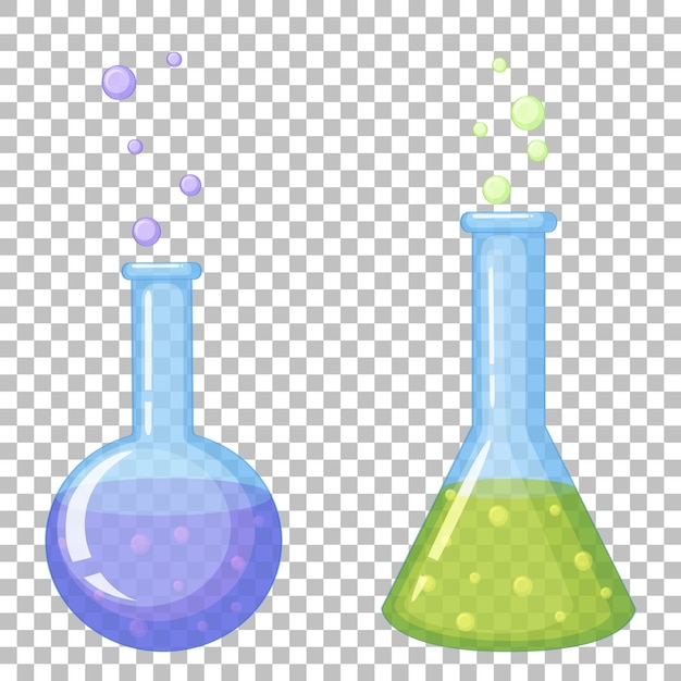 Icone di provetta chimica su trasparente Vettore gratuito