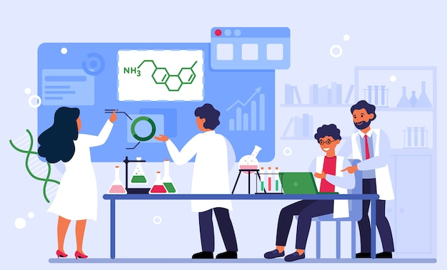 화학 및 실험실 개념 무료 벡터
