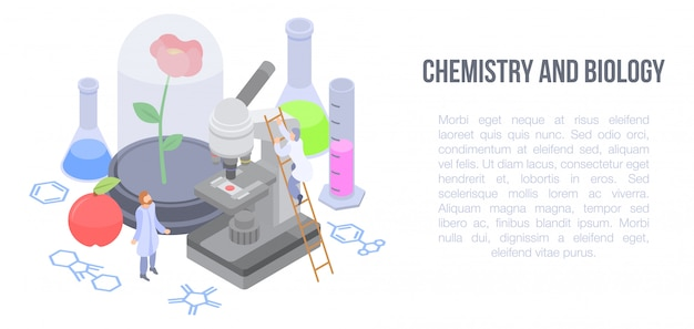 Chemistry and biology concept banner, isometric style Premium Vector