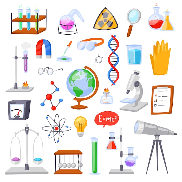 Chemistry  chemical science or pharmacy research in laboratory for technology or experiment in laboratory illustration set of lab scientific equipment Premium Vector
