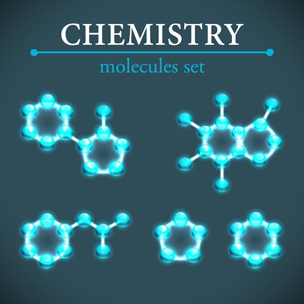 化学の概念青い光沢のある分子装飾アイコンセット分離 無料ベクター