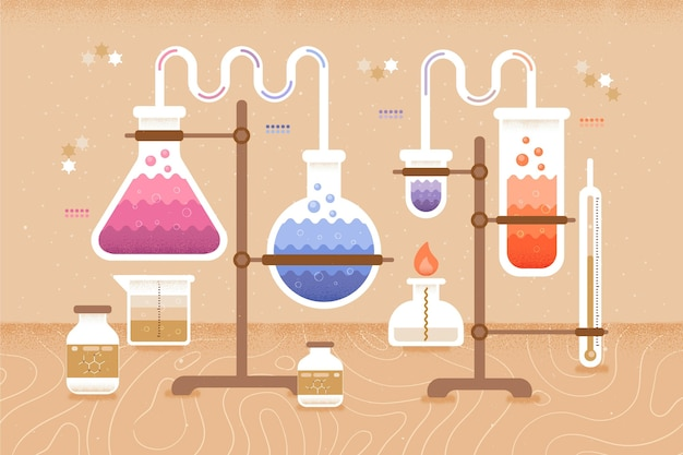Chemistry elements back to school concept Free Vector