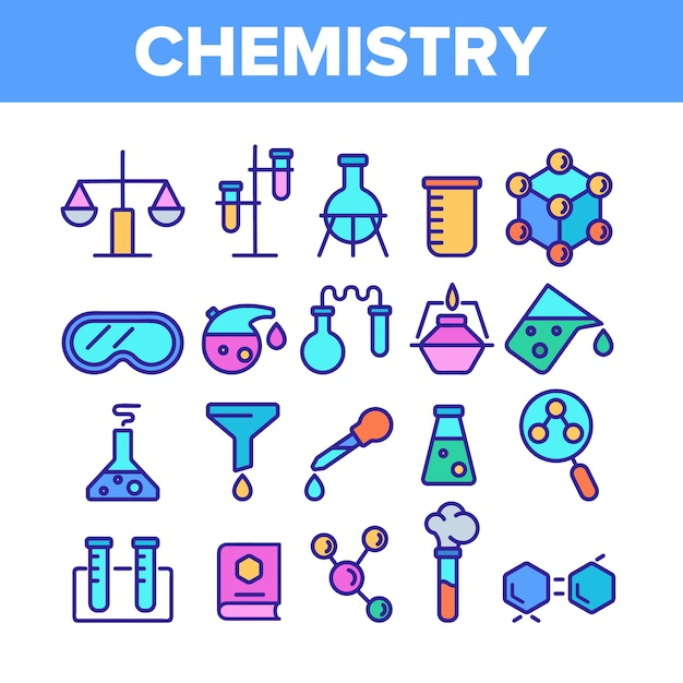 Chemistry elements icons set Premium Vector