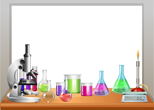 Chemistry equipment on table Free Vector