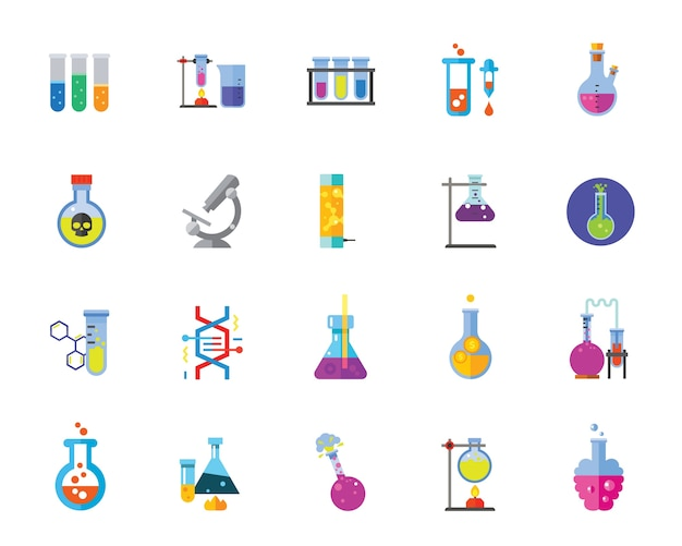 Chemistry icon set Free Vector