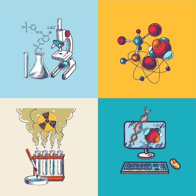 Chemistry icon sketch composition Free Vector
