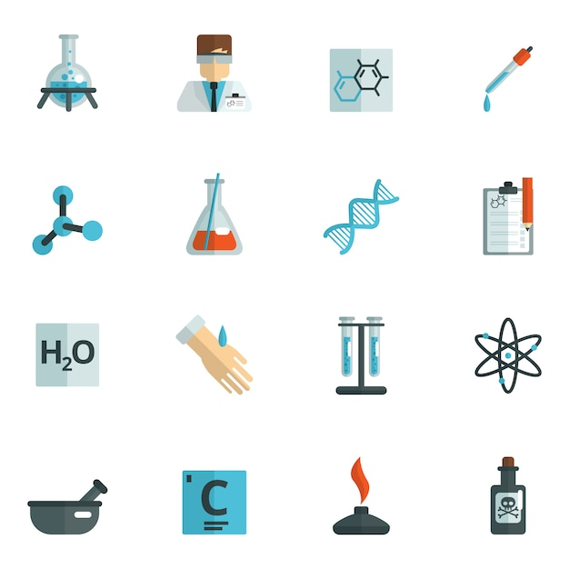 Chemistry icons flat Free Vector