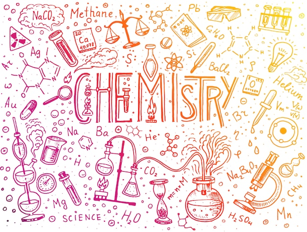 Chemistry of icons set. chalkboard with elements, formulas, atom, test-tube and laboratory equipment. laboratory workspace and reactions research. science, education, medical. engraved hand drawn. Premium Vector