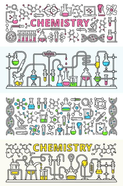 Chemistry lab banner set Premium Vector