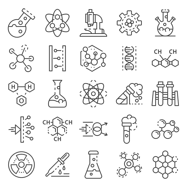 Chemistry lab icon set. outline set of chemistry lab vector icons Premium Vector