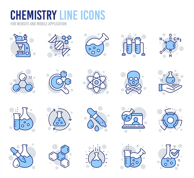 Chemistry lab line icons. chemical formula, microscope and medical analysis. Premium Vector