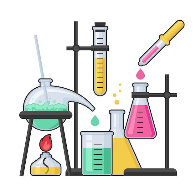 Химическая лаборатория и научное оборудование с пробиркой и колбой из стекла. концепция фармации и химии, образования и науки. Premium векторы