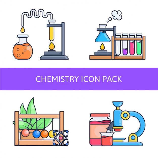 Chemistry in laboratory icon pack Premium Vector