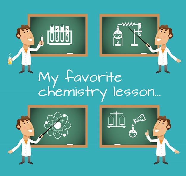 Chemistry lesson chalkboards Free Vector