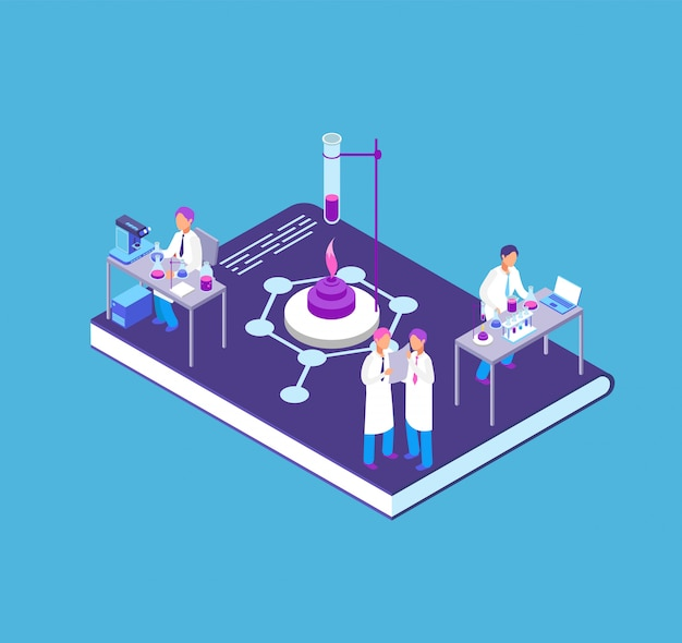 Chemistry, pharmaceutical 3d isometric concept with chemical laboratory equipment and people research scientist vector illustration Premium Vector