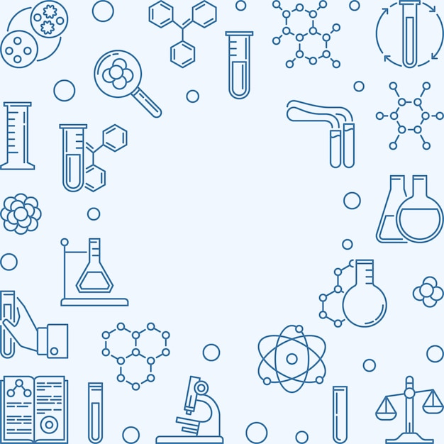 Chemistry square background with blue chemical outline icons Premium Vector