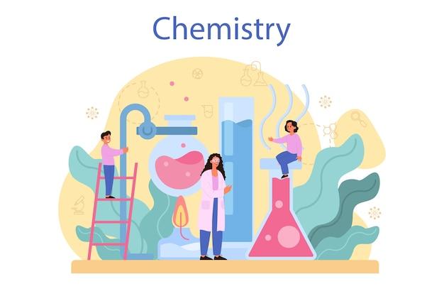 化学研究の概念。化学の授業。 Premiumベクター
