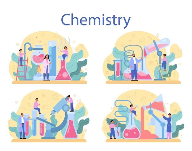 Набор концепций изучения химии. урок химии. научный эксперимент в лаборатории с химическим оборудованием. Premium векторы
