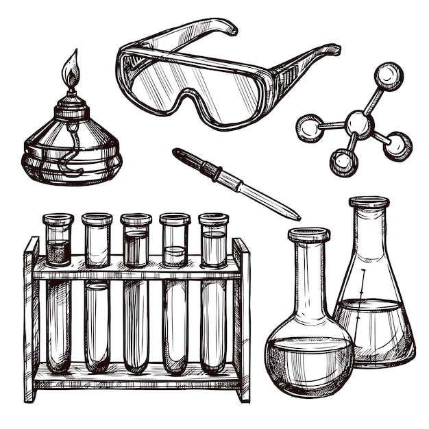Chemistry tools hand drawn set Free Vector