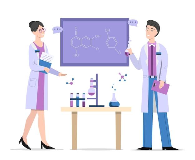Chemists in laboratory illustration Free Vector