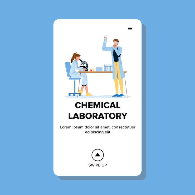 Химики, работающие в химической лаборатории Premium векторы