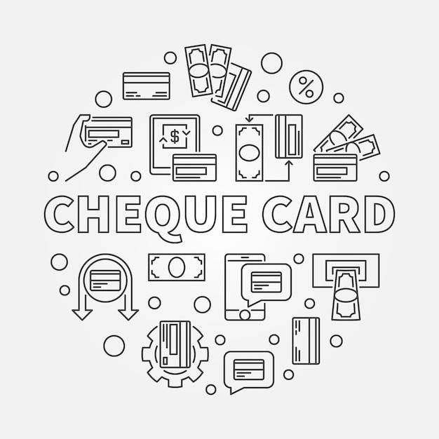 Cheque card concept round simple outline illustration Premium Vector