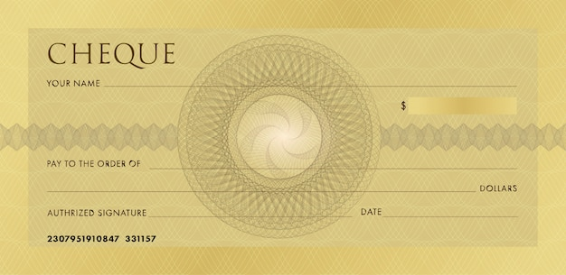 Cheque or chequebook template. blank gold business bank cheque with guilloche rosette and abstract watermark. Premium Vector