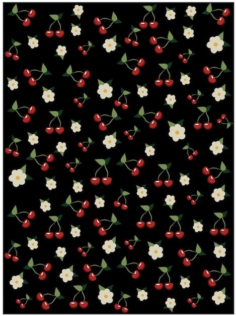Ciliegie e fiori di ciliegio pattern su sfondo nero. albero sakura Vettore gratuito