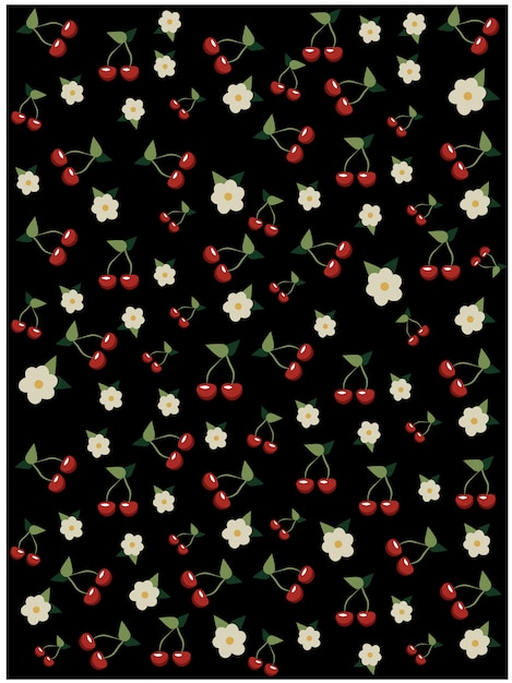 Cherries and cherry blossom pattern on black background. sakura tree Free Vector