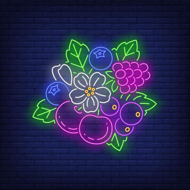さくらんぼ、ラズベリー、ブルーベリー、花と葉のネオンサイン。 無料ベクター