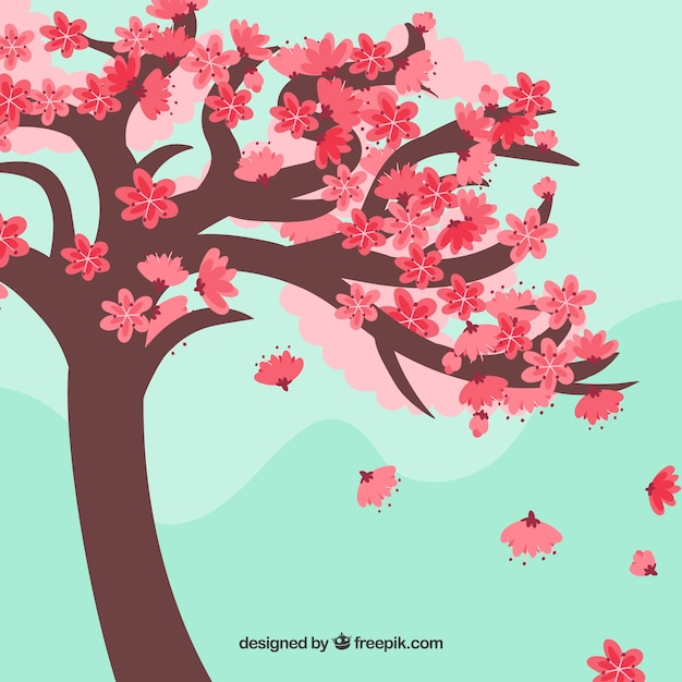 Cherry blossom backgroun in hand drawn style Free Vector