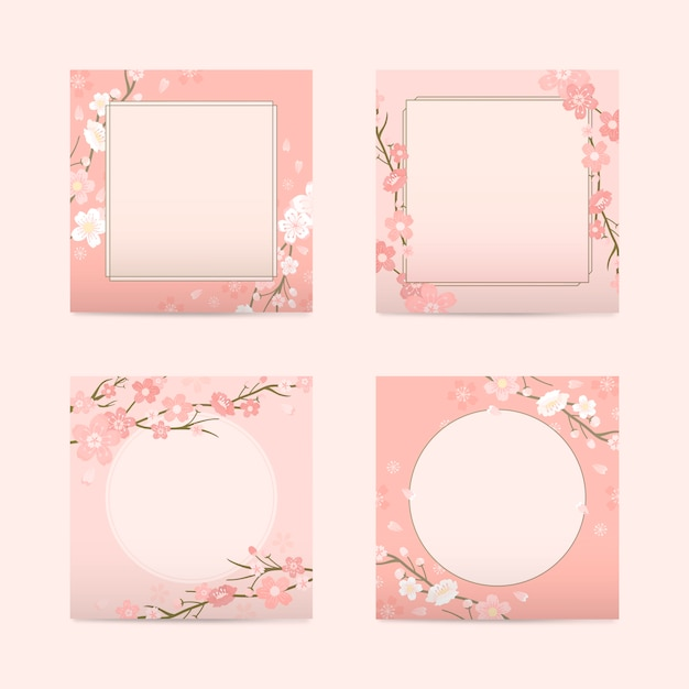 Cherry blossom background collection Free Vector