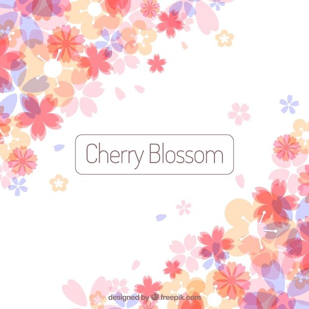 Цвет вишневого цветка в плоском стиле Бесплатные векторы