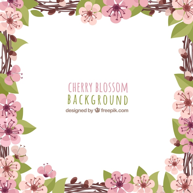 Cherry blossom background in frame style Free Vector