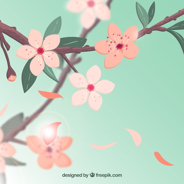Cherry blossom background on blue sky Free Vector