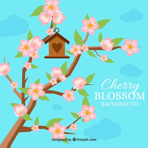 Cherry blossom background with birds house Free Vector