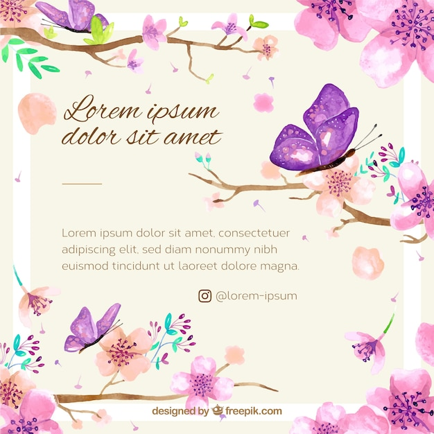 Cherry blossom background with watercolor floral Free Vector