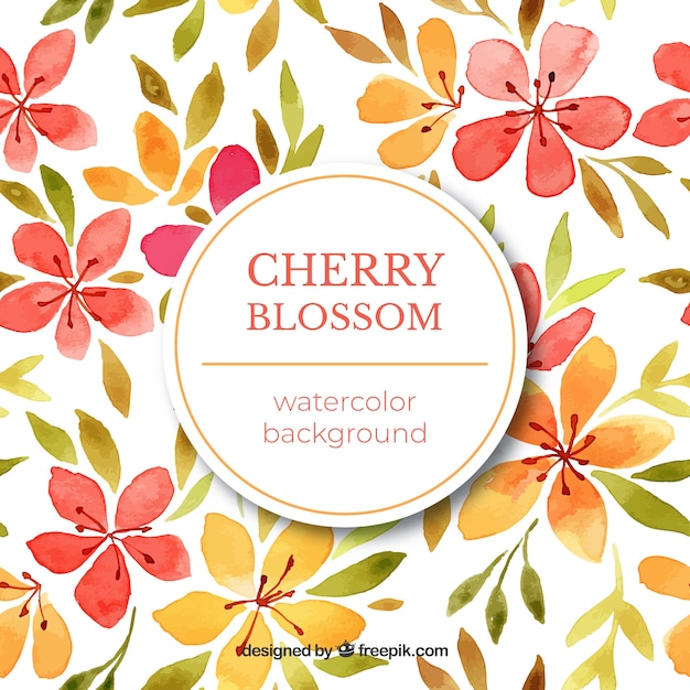 Cherry blossom background with watercolor flowers Free Vector