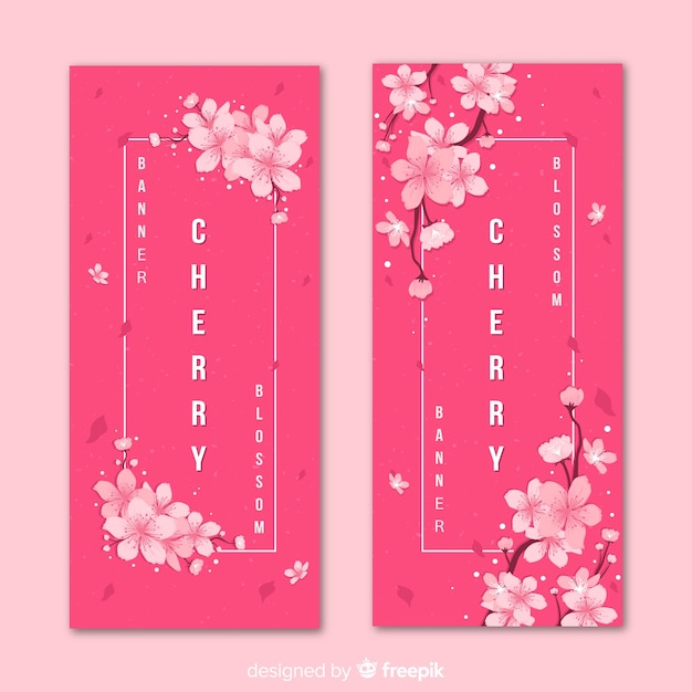 Cherry blossom banners Free Vector