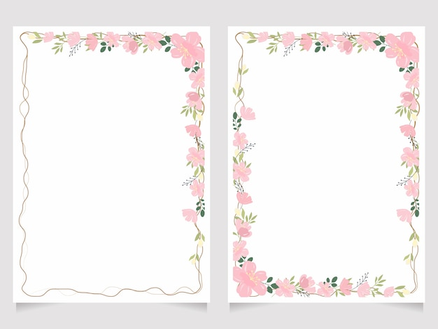 Cherry blossom branch 5x7 invitation card background template collection Premium Vector