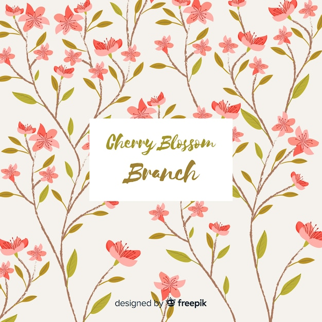 Cherry blossom branch collection Free Vector