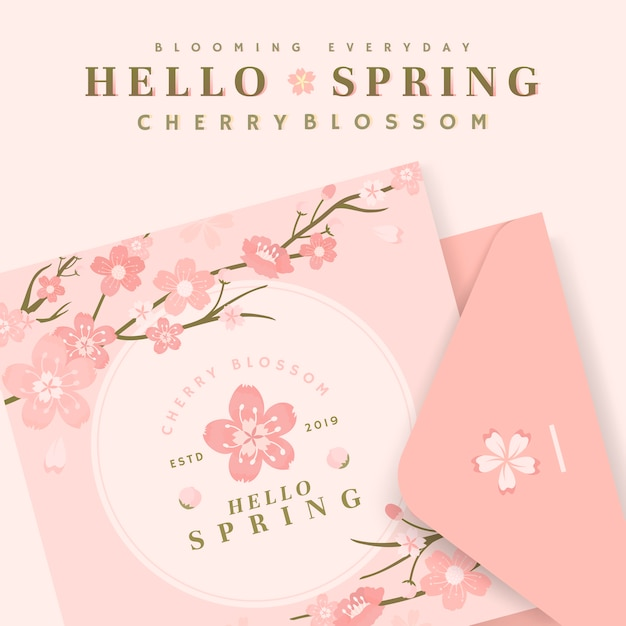 Cherry blossom card illustrations Free Vector