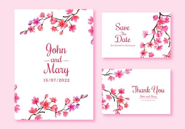 Cherry blossom card set template design Free Vector