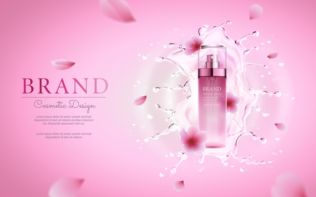 Cherry blossom cosmetic with water splashing for promotional pink poster template Premium Vector