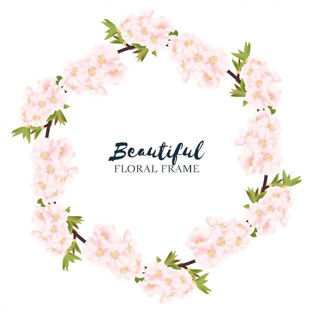 Cherry blossom floral circle frame Premium Vector
