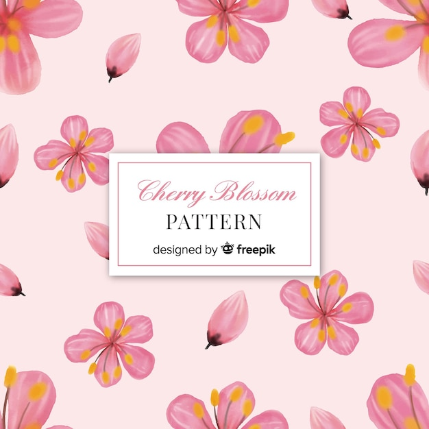 Cherry blossom flowers pattern Free Vector